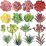 Zcaukya Artificial Succulent Plants, 16 PCS Unpotted Mini Faux Succulents, Small Plastic Succulent Plants with Flocking Coating for Office Table, Balcony, Wall, Sill Indoor Decoration