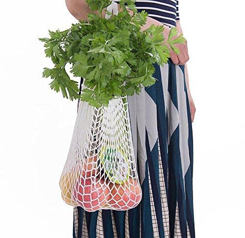 Mehrfarbig Cotton Einkaufsnetz Netzbeutel mit Langer Griff, Dasongff Wiederverwendbar Einkaufstasche Netze Tasche Kartoffelsack, Tragbar Netzbeutel Frucht Speicher Einkaufstasche (Weiß, 38 * 48.2cm)