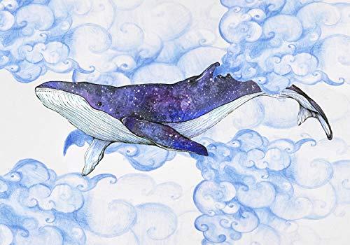 wandmotiv24 Fototapete Kinderzimmer Wal Schwimmen Wolken, XXL 400 x 280 cm - 8 Teile, Fototapeten, Wandbild, Motivtapeten, Vlies-Tapeten, Aquarell Galaxie Fantasie M5819