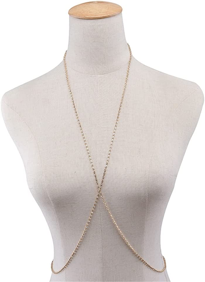 UXZDX Simple Style Beach/Party Necklace with Belly Body Chain Fashion Sexy Copper Sequins Body Jewelry for Women (Color : Gold1)