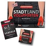 DENKRIESEN - Trio Rotlicht Edition - Stadt Land VOLLPFOSTEN® - Spielblock + Kartenspiel + Hangman Galgenmännchen to GO