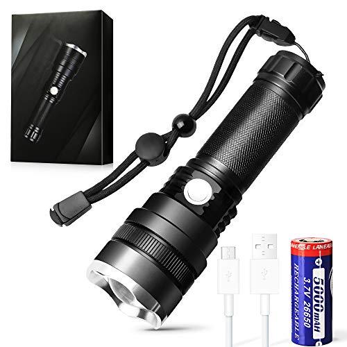 Wiederaufladbare Taschenlampe, 1600 High Lumens Professional Taschenlampe, 26650 5000 mAh Batterie enthalten, für Wandern, Camping und Jagd