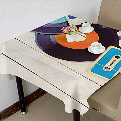 dsdsgog Jacquard Tablecloth Gramophone Records and Old Audio Cassettes on Wooden Table Nostalgia Music,65x65 inch Overlays Square Tablecloth Audio Cassette Label Template