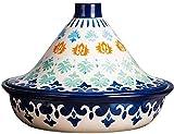 WJHCDDA Cacerolas Cocinar Tagine Media Plomo Libre Hecho a Mano Hecho a Mano y Pintado a Mano Tagine Pot con Tapa para cocinar y guisar la Cocina Lenta (Color : Blue)