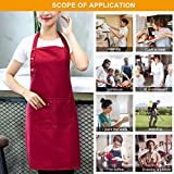 2 Pack Schürze Mit 3 Taschen für Männer Frauen, Verstellbare Kochschürze Küchenschürze Wasserdicht Latzschürze Grillschürze für Küche Garten BBQ Chef Kellner Bäcker – Rot - 6