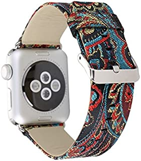Designer Leather Apple Watch Replacement Band for Women, Over 30 Strap Variations for The 38mm or 42mm, fits Apple iWatch 3, 2, 1 and Nike Edition (42 mm, Silk - Black and Blue)