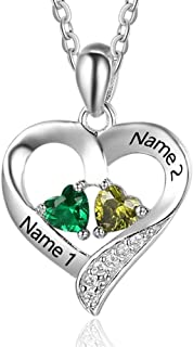 925 Sterling Silver Personalized 2 Names Necklace with 2 Heart Simulated Birthstone Couple Pendant Necklace for Women