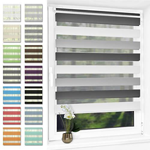 Doppelrollo klemmfix Duo Rollo ohne Bohren,Rollos für Fenster und Tür,lichtdurchlässig und verdunkelnd 90 x 150 cm(BxH) Weiß-Grau-Anthrazit