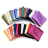 Farmunion Mens Pocket Square Handkerchief for Wedding Party, Solid Colors (26 Pieces)