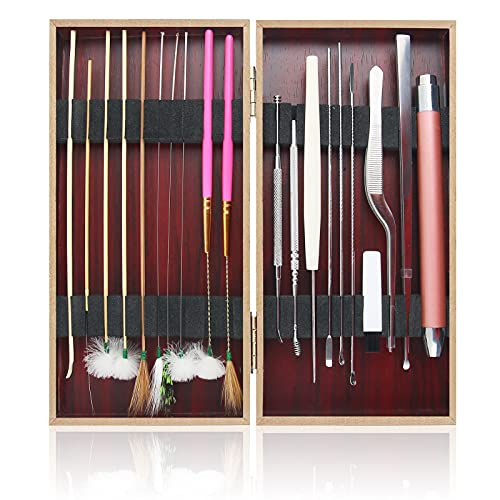 20Pcs Earwax Removal Kits Brushes for Ear, Ear Cleaning Tool Kits, Luminous Ear Picks Earwax Catcher Cleaning Brushes Clips Goose Feather Ear Pick Stick, Adults and Children Ear Wax Removal Tool