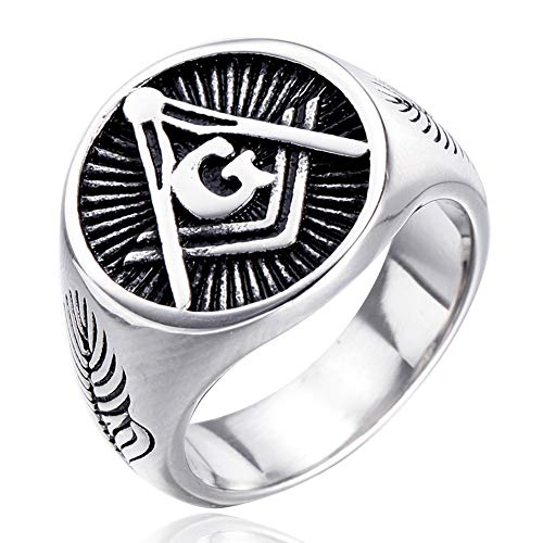 DFWY Men's Stainless Steel Freemason Symbol Masonic Rings,Master Mason Band Signet Ring,Vintage Middle Ages Religious Protection Pagan Amulet Jewelry (Size : 13)