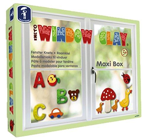 Feuchtmann 628.0575 - Kneto Window Clay, Fensterknete Maxi Box, 10 Stangen, bunt, inkl. Teigrolle, Modellierwerkzeugen, Buchstaben und Zahlenformen, rückstandslos entfernbar, wiederverwendbar