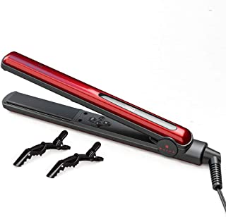 Hair Straightening Flat Iron for Straightens and Curls Hair, Straightener with 1 Inch Floating Plates, Flat Iron with Temperature Adjustment Button LED Digital Display and Auto Shut Off Red