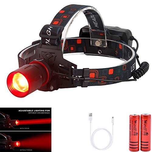 WindFire New Brightest Hunting Headlamp Zoomable Red CREE XML-T6 LED Night Hunting Light Waterproof Rechargeable Headlight for Coyote Hog Varmint Predator Hunting, Astronomy, Aviation with Batteries