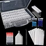 SGHUO 64 Slots 5D Diamond Painting Box Storage Containers Portable Plastic Bead Storage Box with Funnel Plate...