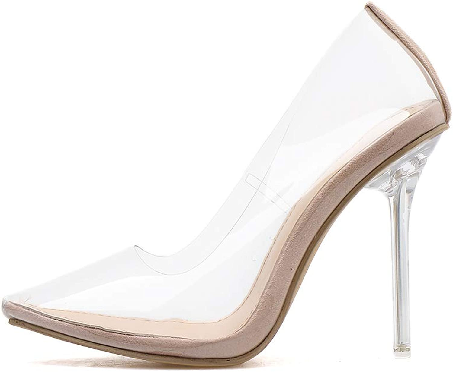 Women's Sandals - High-Heeled Crystal with Pointed Shallow Mouth Transparent Plastic Sexy shoes