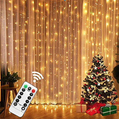 USB LED Curtain Lights with Remote Control 9.8FTx 9.8FT 8 Mode Solar Curtain Lights Outdoor Decorative Wall Window String Lights for Wedding Backdrop Camping Patio Decor -Warm White