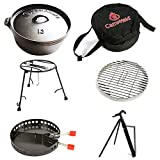 CampMaid Outdoor Cooking Set - Dutch Oven and Tools Set - Charcoal Holder & Cast Iron Grill Accessories - Camping Grill Set - Outdoor Cooking Essentials - Camp Kitchen Equipment - (6 Piece Set)