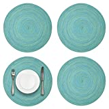 JENDI 15 inch Washable Round Placemats Non Slip Heat Resistant Braided Dining Table Mats for Family Dinners Holiday (Round Aqua-Blue, 4)