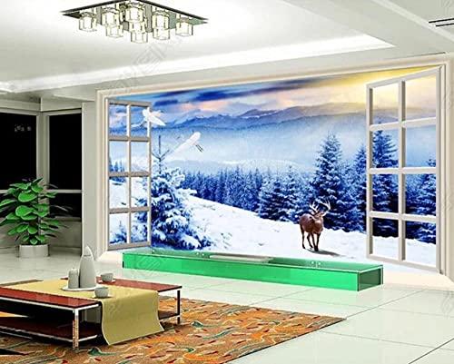 Murales de Pared Papel Pintado Bosque De Pinos Nevados Fuera De La Ventana Fotomurales Dormitorio Sala de Estar Sofá Fondo de Pantalla Decoración de la Pared Murales,150x105cm