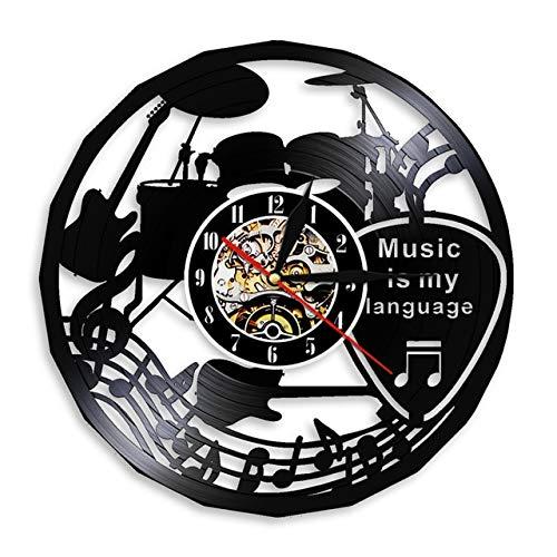 Leeypltm Silencioso Reloj de Pared,La música es mi Idioma Disco de Vinilo Inspirador Musical sin LED Reloj de Pared Retro Grande,Reloj de Pared de Alta precisión,