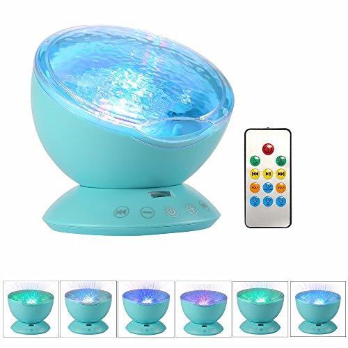 Luz Nocturna Océano/Mar,GZQES,Luz romántica Asombrosa de la Noche, el Proyector del Océano Lámpara Estrellada del USB, (Azul)