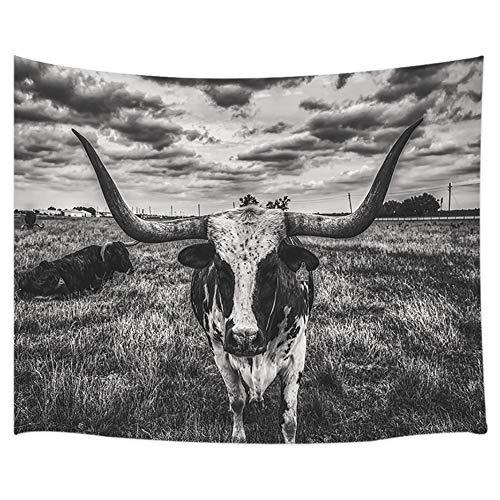 DYNH Tapiz rústico de Granja, Tapiz de Pared de Texas Longhorn Steer en Granja Rural, Tapiz para Colgar en la Pared para recámara, Sala de Estar, dormitorios, 71 x 60 Pulgadas