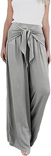iYBUIA 2018 Women Solid Fashion Casual Loose High Waist Wide Leg Bell Bottom Palazzo Flare Pants