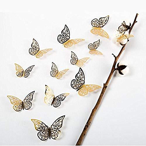 Zbzmm 12 Stks Gouden 3D Vlinder Man-Made Verwijderbare Kunst Decoraties Muurstickers Muurstickers Vlinder Bladwijzer@Goud