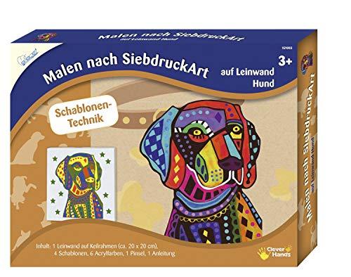 MAMMUT 159003 - Malen nach SiebdruckArt, Tiermotiv, Hund, Komplettset mit Leinwand auf Keilrahmen, 4 Schablonen, 6 Acrylfarben, Pinsel und Anleitung, Malset für Kinder ab 3 Jahre