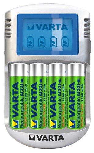 Varta LCD Charger Ladegerät für 4 AA/AAA Akkus (inkl.  4 AA Akkus mit je 2100 mAh)