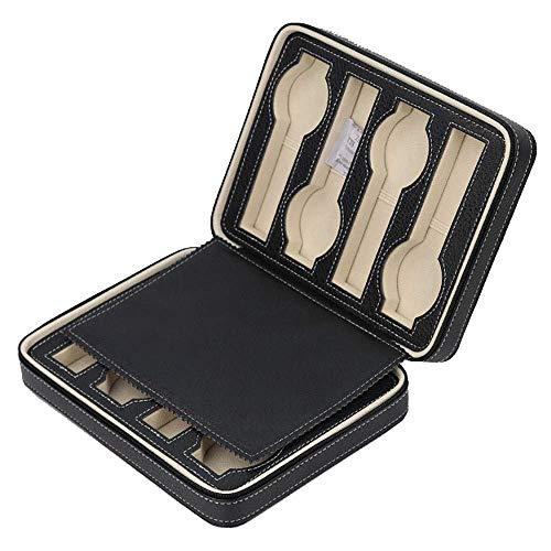 Estuche de exhibición de Almacenamiento de Reloj portátil de 8 Ranuras Estuche Organizador de Joyas de Cuero con Cremallera (Color: Negro)
