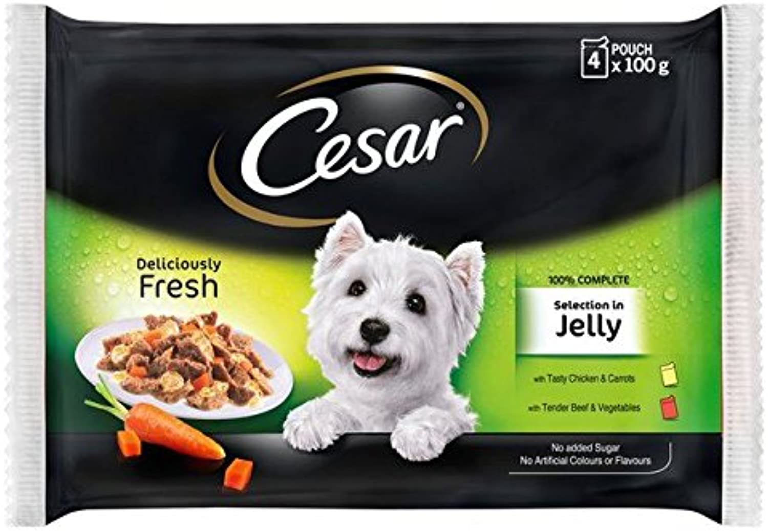 Cesar Fresh Pouch Meat Selection in Jelly 4 x 100g (PACK OF 6)