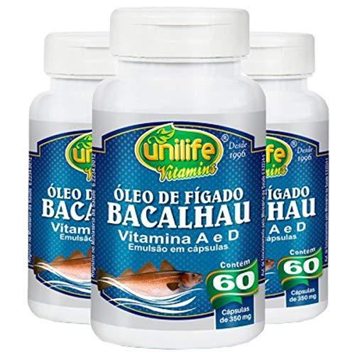 Óleo de Fígado de Bacalhau 350mg - 3 unidades de 60 cápsulas - Unilife