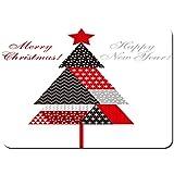 Blived Antideslizante Alfombra De Baño,Ilustración de Vector de Estilo Patchwork de árbol de Navidad,Alfombra de Cocina Alfombra Mascota,Alfombras de Ducha 80x60cm