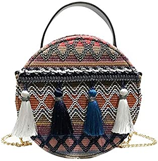 Wultia - Shoulder Bag Women Ins Super fire National Wind Portable Chain Small Round Bag Tassel Packet Female Fashion Versatile Bags #M08 Blue