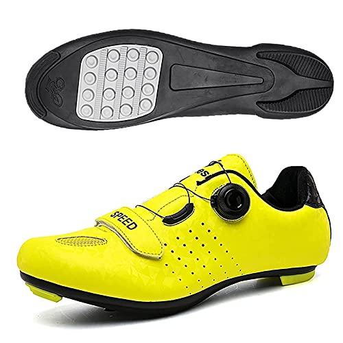 ZHBW Calzado De Ciclismo, Goma para Bicicleta, Transpirable Antideslizante En Carretera, Montaña MTB Compatible con Tacos SPD (Color : Yellow Rubber, Tamaño : 41 EU)