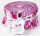 Soimoi 40Pcs Tie & Dye Imprimir Pulsado De Algodón Telas De Telas Para Acolchar Craft Strips 2.5 X 42 Pulgadas Rollo De Jalea - Púrpura-Ha