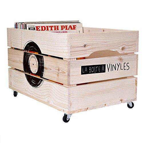 Simply a Box Chariot en Bois Rangement à Vinyles L54xH30xP36 cm pour 100 Vinyles - Fabriqué à la Main en France