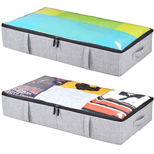 storageLAB Underbed Storage Containers - 2-Pack, 33x17x6in - Woven fabric with Plastic Structure (Grey)