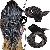 Moresoo Remy Hair Extension Cortina Pelo Humano Natural Extensiones de Cabello Natural Negro #1B a #Plata Balayage Sew in Weave 24 pulgadas 100G