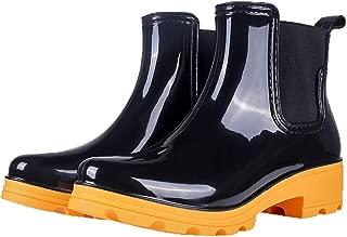 Women's Rain Boots Platform Slip On Ankle Boots Elastic Short Chelsea Booties Rain Shoes