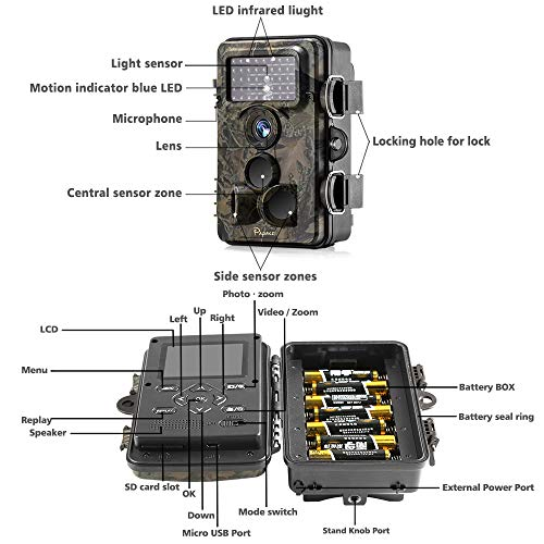 Trail Camera 12MP 1080P HD with Time Lapse 65ft 120° Wide Angle Night Vision for Game & Hunting