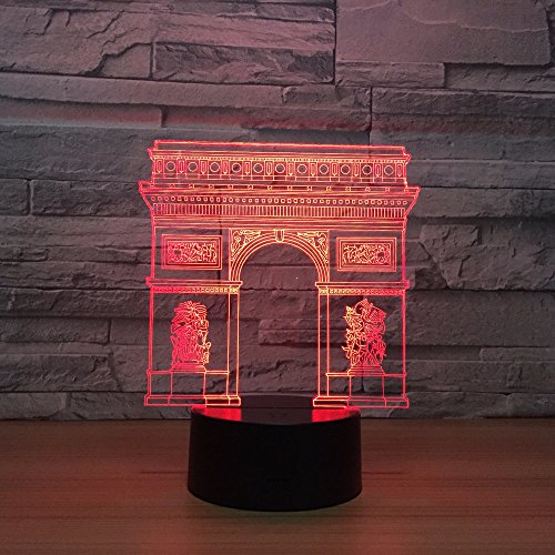 Luz de noche LED 3D, diseño de arco de triunfo en Francia, 7 colores, control remoto, lámpara táctil para dormitorio, decoración del hogar, regalo de Navidad para niños