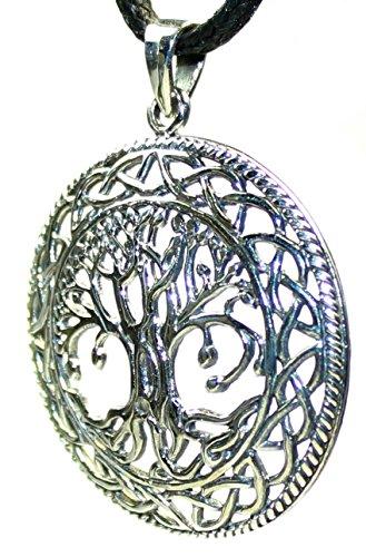 budawi® - Weltenbaum Anhänger Ø 35 mm, 925er Sterling Silber, Schmuck keltischer Lebensbaum, Kettenanhänger Baum des Lebens