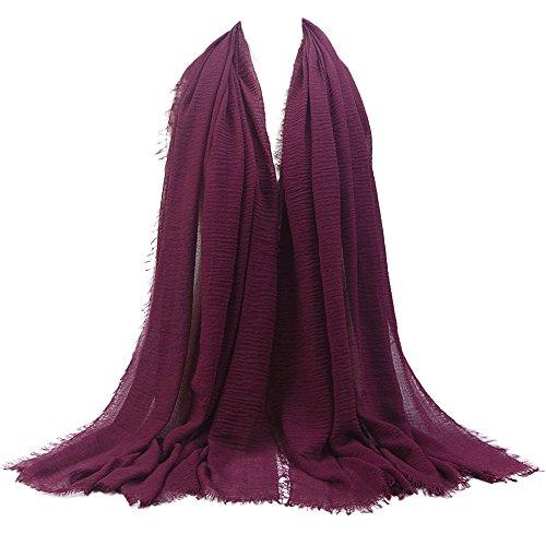 KPILP Premium Viskose Maxi Crinkle Cloud Hijab Schal Pashminas Soft Islam Muslim Kopftücher Umhang,Purple 15#