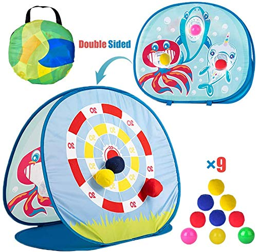 Bean Bag Toss Game Toy voor peuters 3 4 5, Shark Themed Double Sided Dartbord met 6 zitzakken en 3 Ocean Balls, inklapbare buitenspellen voor kinderen