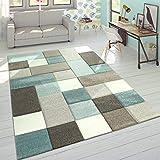 Paco Home Alfombra Diseño Moderna Perfil Contorneado Colores Pastel Cuadros Beige Azul, tamaño:120x170 cm