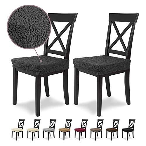 Housses de siège SCHEFFLER-Home Jacquard Lea 2 Set, élastiques Couverture Spandex, revêtement de Chaise siège, Anthracite