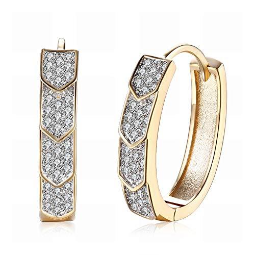 TIANYOU Pequeño y exquisito K Pendientes de circonita dorada Diamante en forma de flecha Pendientes románticos de viento Clip de oreja Champaña dorada para mujer Damas/Alergia/D